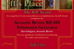 2016 Jeff Award Acoustic Revive RR-888 Schumann Generator
